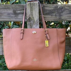 36454 Coach Saddle Brown Large Turnlock Tote Bag